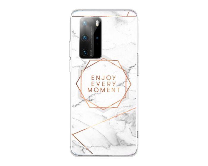 Silicone Marble Case No16 Θήκη Σιλικόνης White / Gold (Huawei P40 Pro)