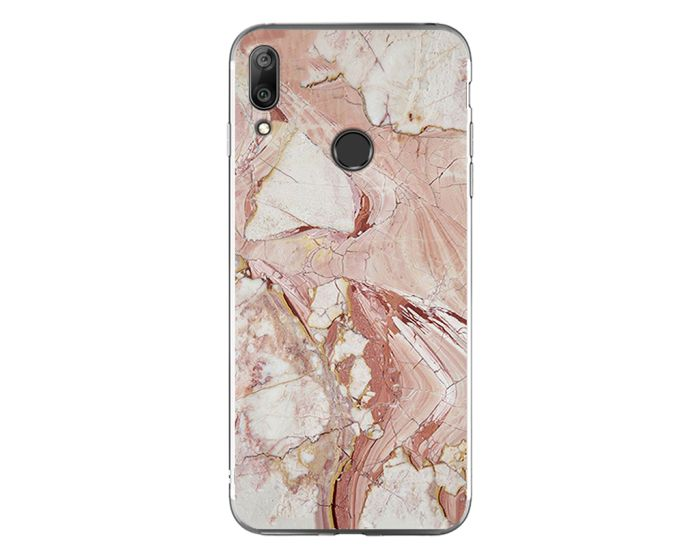 Silicone Marble Case No6 Θήκη Σιλικόνης White / Brown (Huawei Y7 2019 / Y7 Prime 2019)