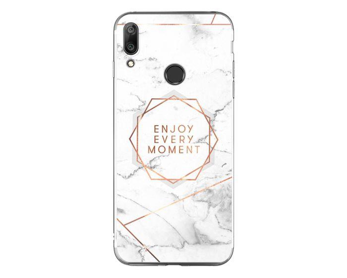 Silicone Marble Case No16 Θήκη Σιλικόνης White / Gold (Huawei Y7 2019 / Y7 Prime 2019)