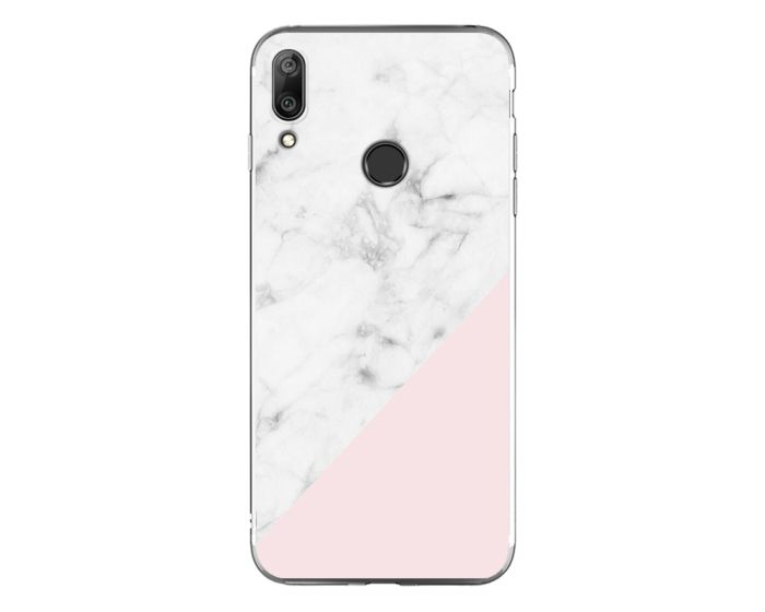 Silicone Marble Case No9 Θήκη Σιλικόνης White / Pink (Huawei Y7 2019 / Y7 Prime 2019)