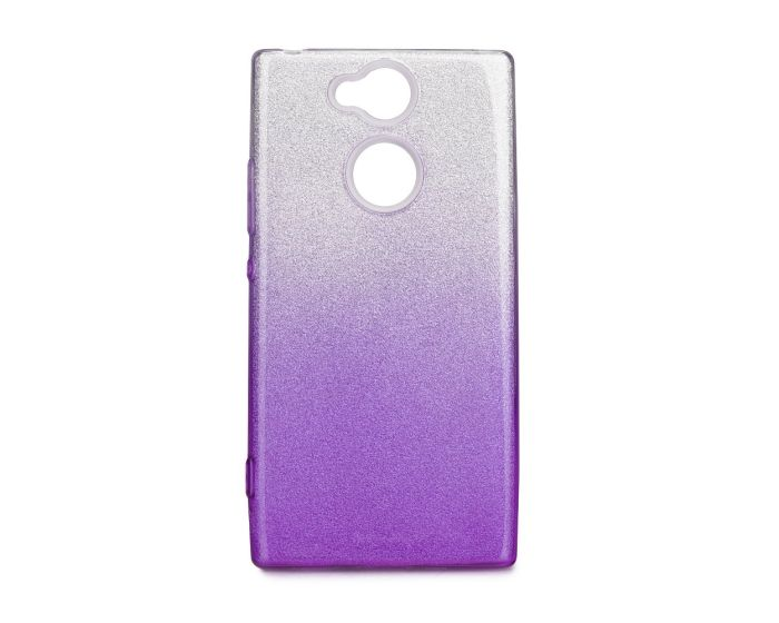 Forcell Glitter Shine Cover Hard Case Clear / Violet (Sony Xperia XA2)