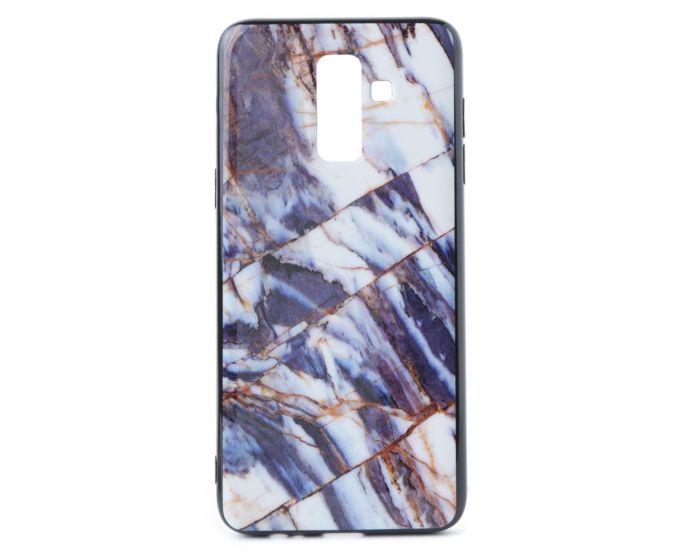 Hard Back Case with TPU Bumper Marble Blue White (Samsung Galaxy J8 2018)