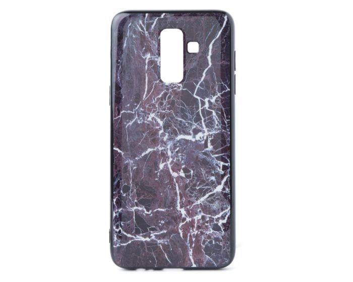 Hard Back Case with TPU Bumper Marble Red White (Samsung Galaxy J8 2018)