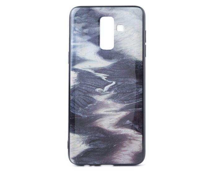 Hard Back Case with TPU Bumper Waves Black White (Samsung Galaxy J8 2018)