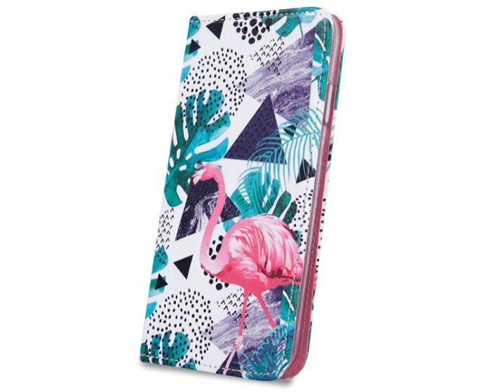Smart Trendy Magnet Wallet Case Θήκη Πορτοφόλι με Stand Flamingo and Plants (Huawei Y7 2019 / Y7 Prime 2019)