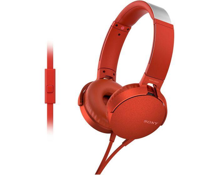 SONY Extrabass Stereo Headphones (MDR-XB550AP) Ενσύρματα Ακουστικά - Red