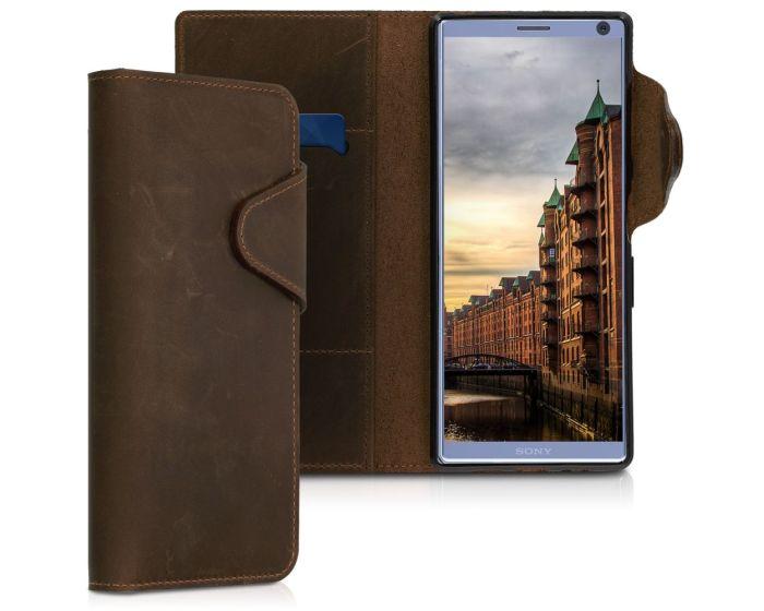 Kalibri Leather Wallet Case Δερμάτινη Θήκη Πορτοφόλι (48000.05) Καφέ (Sony Xperia 10 Plus)