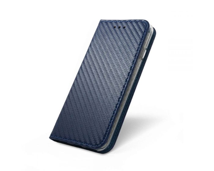 Smart Carbon Book Case με Δυνατότητα Stand - Θήκη Πορτοφόλι Σκούρο Μπλε (Sony Xperia XA2)