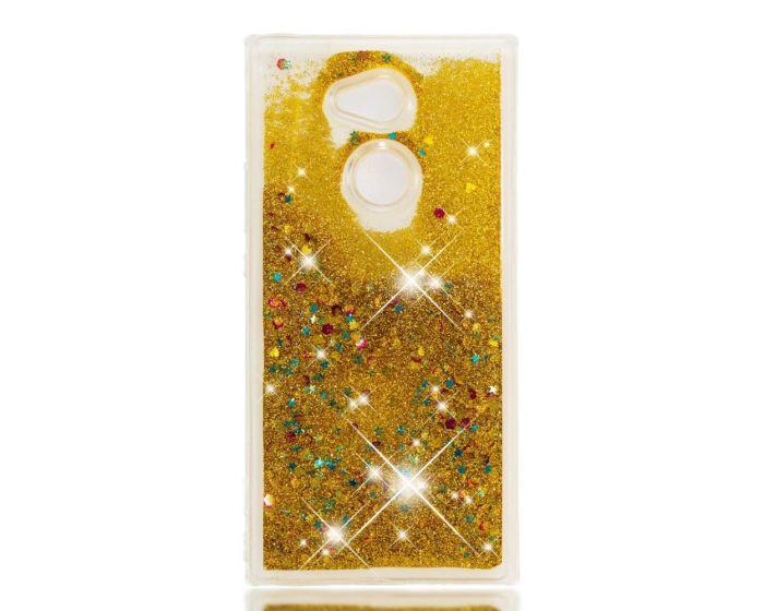 Forcell Liquid Glitter Sand & Stars TPU Case Θήκη με Χρυσόσκονη Gold (Sony Xperia XA2)