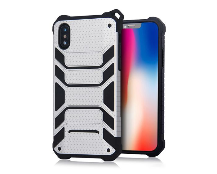 Spider Hybrid Armor Case Rugged Cover Silver (iPhone X / Xs)