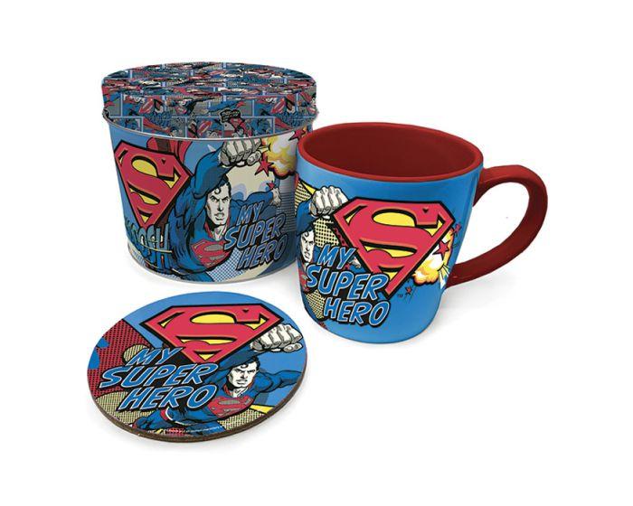 Superman (My Super Hero) Mug & Coaster In Tin Set