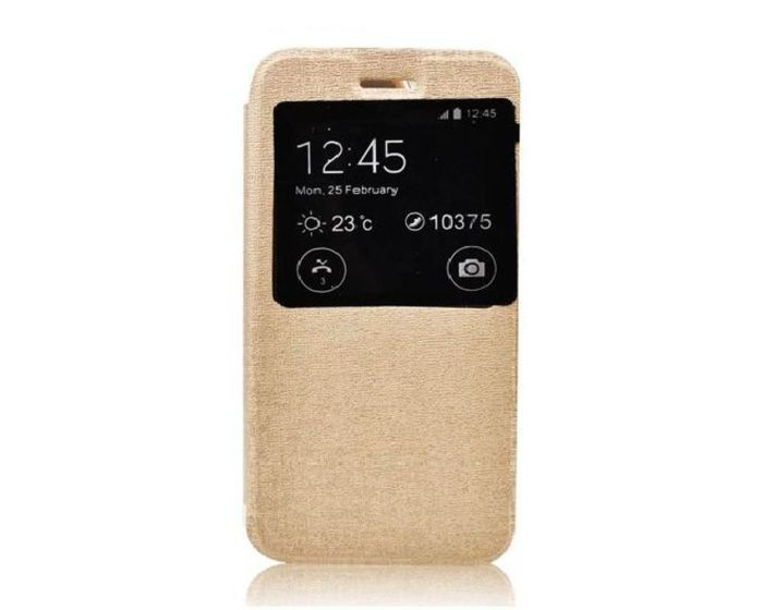 Forcell S View Flexi Flip Case Stand Golden (Sony Xperia E4g)