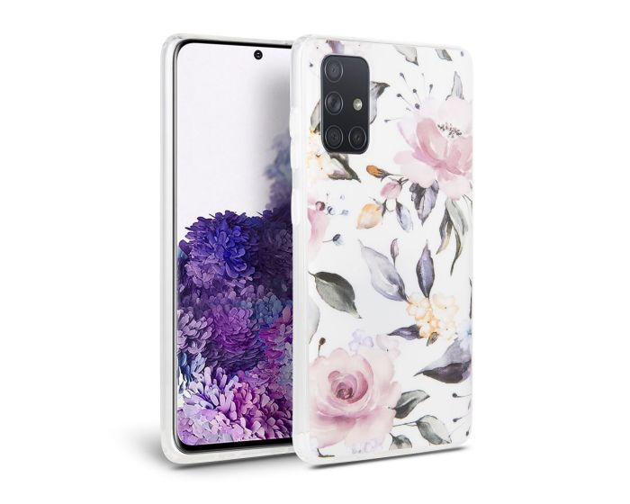 TECH-PROTECT Floral Case Θήκη Σιλικόνης White (Samsung Galaxy A51)