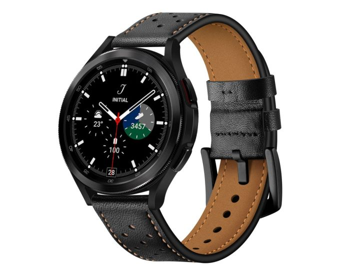 TECH-PROTECT Leather Watch Band Black για Samsung Galaxy Watch 4 40/42/44/46mm
