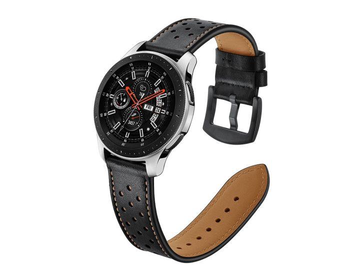 TECH-PROTECT Leather Watch Band Black (περιλαμβάνει τα μεταλλικά κουμπώματα) για Samsung Galaxy Watch 46mm