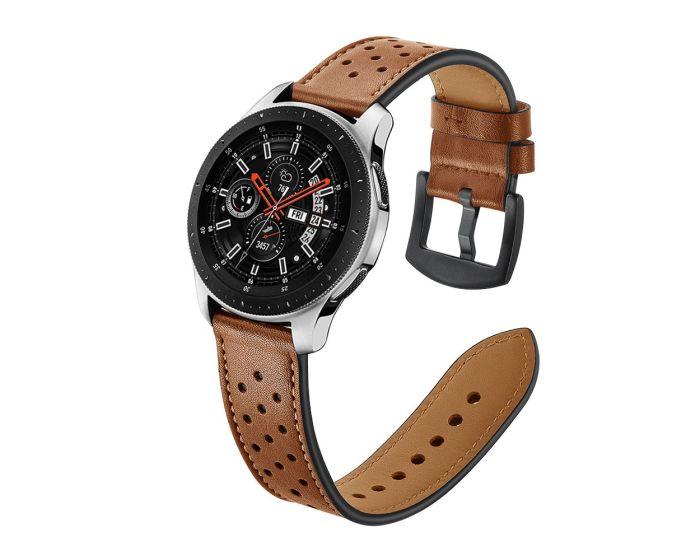 TECH-PROTECT Leather Watch Band Brown (περιλαμβάνει τα μεταλλικά κουμπώματα) για Samsung Galaxy Watch 46mm