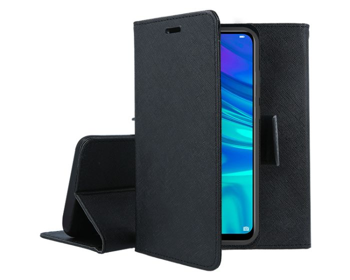 Tel1 Fancy Diary Case Θήκη Πορτοφόλι με δυνατότητα Stand Black (Huawei P Smart 2019 / Honor 10 Lite)