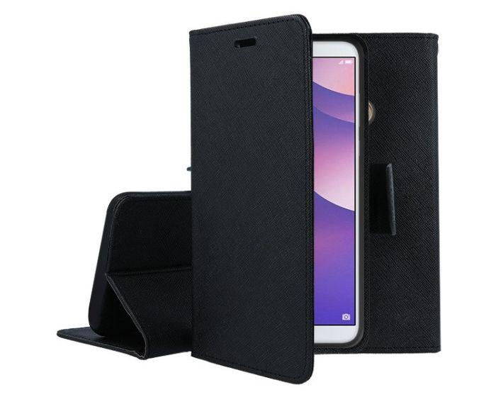 Tel1 Fancy Diary Case Θήκη Πορτοφόλι με δυνατότητα Stand Black (Huawei Y5 2018 / Y5 Prime 2018)