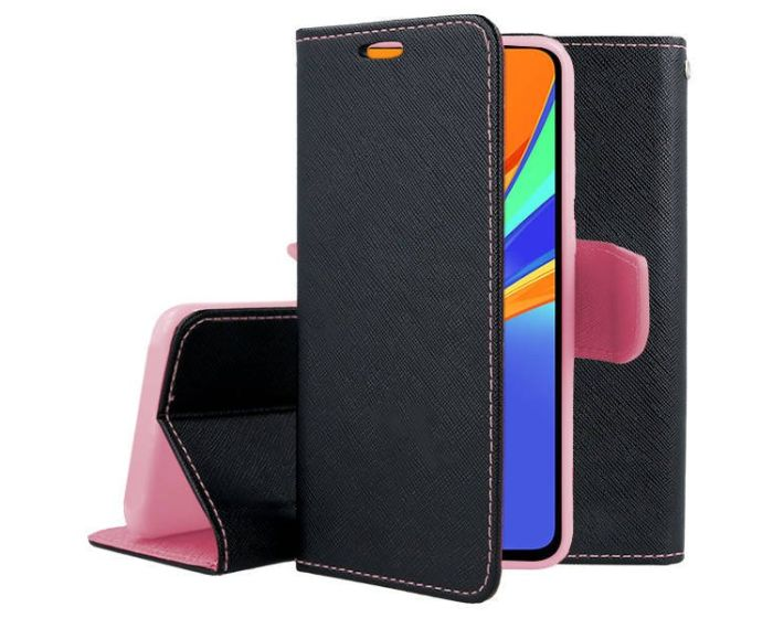 Tel1 Fancy Diary Case Θήκη Πορτοφόλι με δυνατότητα Stand Black / Pink (Xiaomi Redmi 9C)