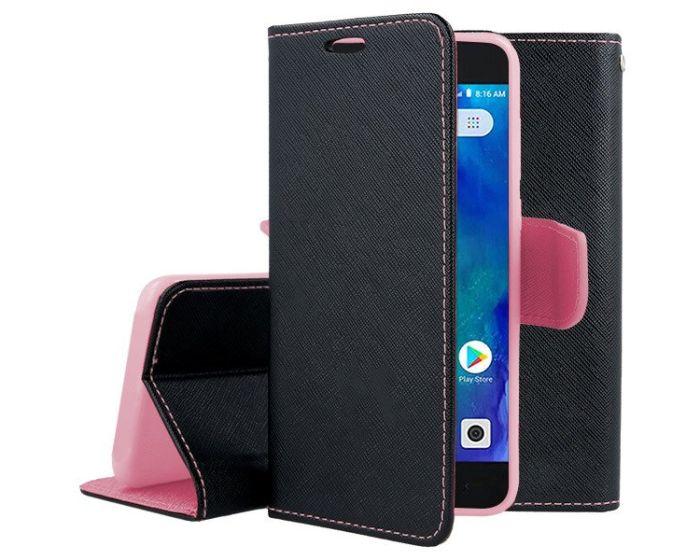 Tel1 Fancy Diary Case Θήκη Πορτοφόλι με δυνατότητα Stand Black / Pink (Xiaomi Redmi Go)
