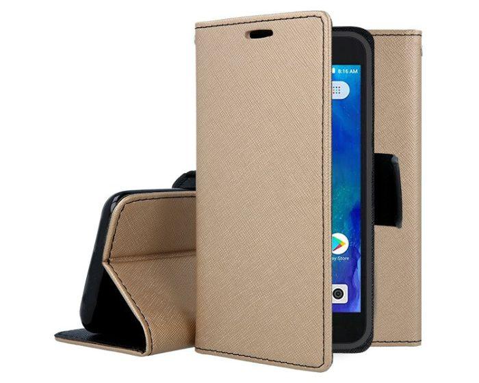 Tel1 Fancy Diary Case Θήκη Πορτοφόλι με δυνατότητα Stand Gold / Black (Xiaomi Redmi Go)