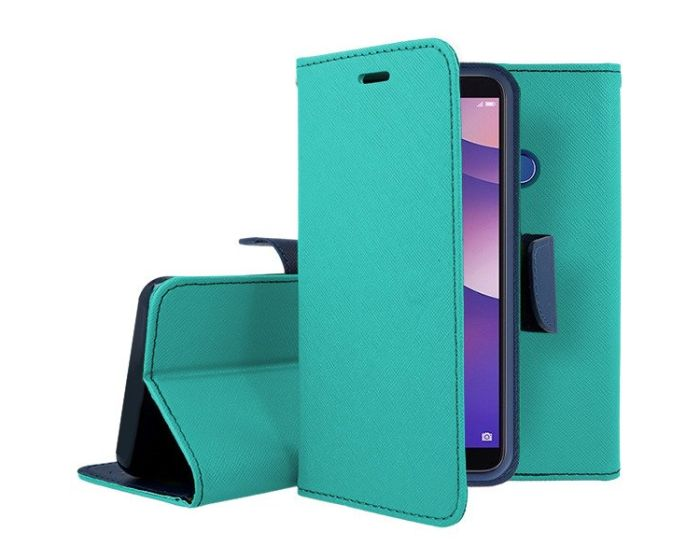 Tel1 Fancy Diary Case Θήκη Πορτοφόλι με δυνατότητα Stand Mint / Navy (Huawei Y7 Prime 2018)