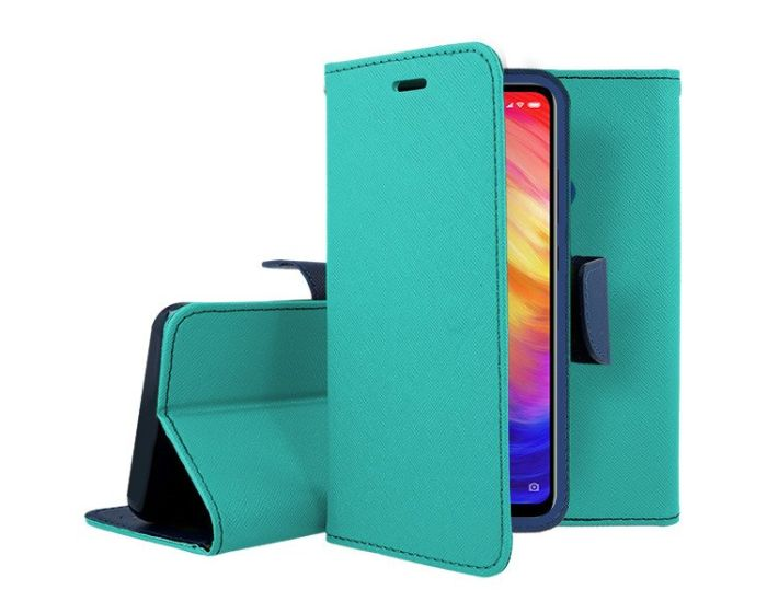 Tel1 Fancy Diary Case Θήκη Πορτοφόλι με δυνατότητα Stand Mint / Navy (Xiaomi Redmi 8A)