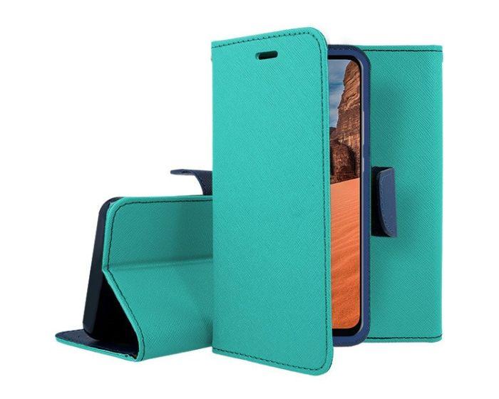Tel1 Fancy Diary Case Θήκη Πορτοφόλι με δυνατότητα Stand Mint / Navy (Xiaomi Redmi 9C)