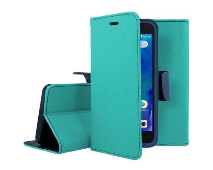 Tel1 Fancy Diary Case Θήκη Πορτοφόλι με δυνατότητα Stand Mint / Navy (Xiaomi Redmi Go)