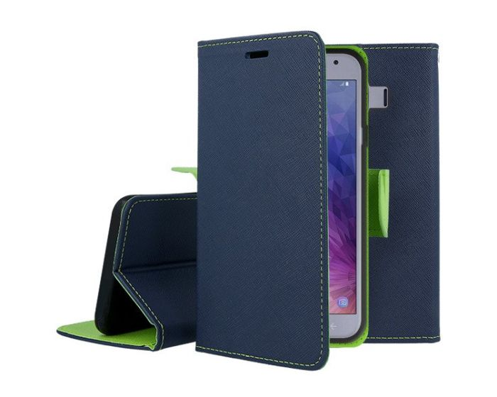 Tel1 Fancy Diary Case Θήκη Πορτοφόλι με δυνατότητα Stand Navy / Lime (Samsung Galaxy J4 2018)