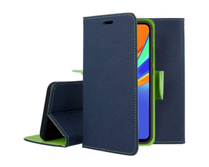 Tel1 Fancy Diary Case Θήκη Πορτοφόλι με δυνατότητα Stand Navy / Lime (Xiaomi Redmi 9C)