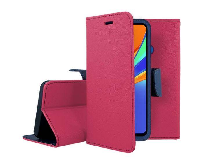 Tel1 Fancy Diary Case Θήκη Πορτοφόλι με δυνατότητα Stand Pink / Navy (Xiaomi Redmi 9C)