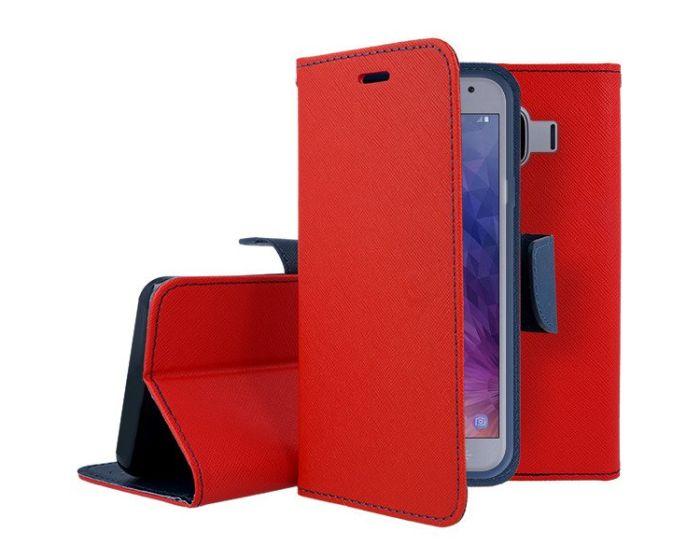 Tel1 Fancy Diary Case Θήκη Πορτοφόλι με δυνατότητα Stand Red / Navy (Samsung Galaxy J4 2018)