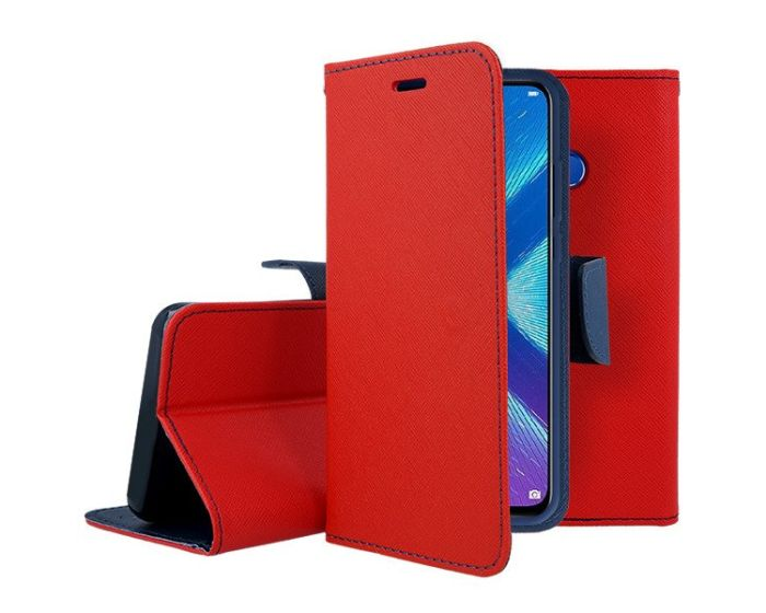 Tel1 Fancy Diary Case Θήκη Πορτοφόλι με δυνατότητα Stand Red / Navy (Huawei Honor 8X)