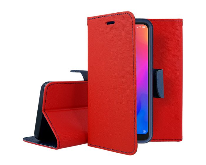 Tel1 Fancy Diary Case Θήκη Πορτοφόλι με δυνατότητα Stand Red / Navy (Xiaomi Mi A2 Lite / Redmi 6 Pro)