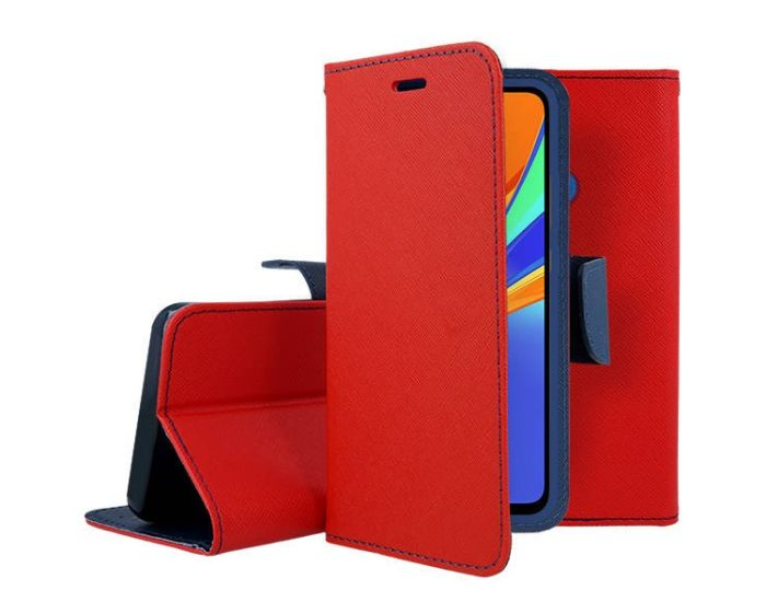 Tel1 Fancy Diary Case Θήκη Πορτοφόλι με δυνατότητα Stand Red / Navy (Xiaomi Redmi 9C)