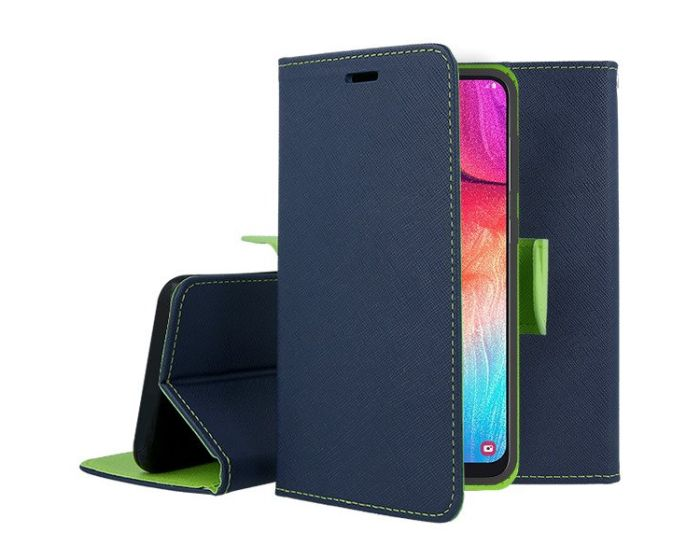 Tel1 Fancy Diary Case Θήκη Πορτοφόλι με δυνατότητα Stand Navy / Lime (Xiaomi Redmi 8)