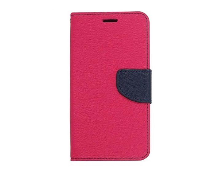 Tel1 Fancy Diary Θήκη Πορτοφόλι με δυνατότητα Stand Pink / Navy (Samsung Galaxy A8)