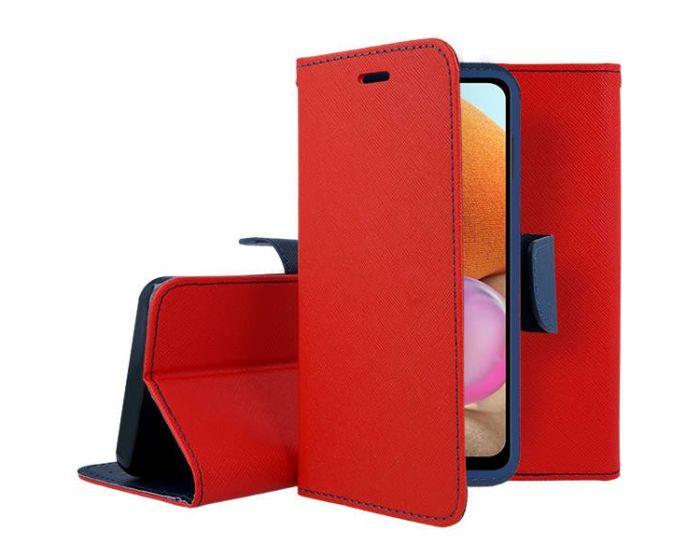 Tel1 Fancy Diary Case Θήκη Πορτοφόλι με δυνατότητα Stand Red / Navy (Samsung Galaxy A32 4G)