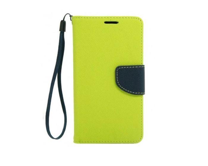 Tel1 Fancy Diary Case Θήκη Πορτοφόλι με δυνατότητα Stand Lime / Navy (LG Joy)