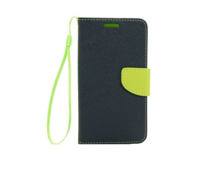 Tel1 Fancy Diary Case Θήκη Πορτοφόλι με δυνατότητα Stand Navy / Lime (LG Joy)