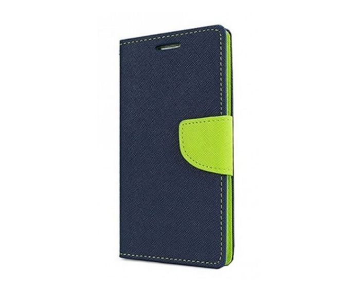 Tel1 Fancy Diary Case Θήκη Πορτοφόλι με δυνατότητα Stand Navy / Lime (LG G7 ThinQ)
