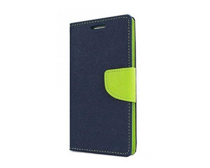 Tel1 Fancy Diary Case Θήκη Πορτοφόλι με δυνατότητα Stand Navy / Lime (Nokia 7 Plus)