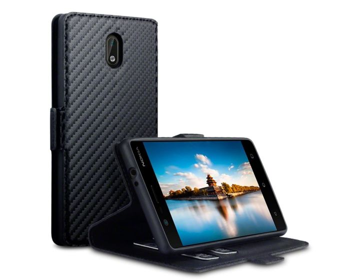Terrapin Carbon Book Case με Δυνατότητα Stand - Θήκη Πορτοφόλι (117-001-259) Μαύρη (Nokia 3)