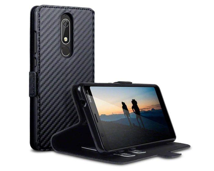Terrapin Θήκη Πορτοφόλι Wallet Case (117-001-298) Carbon Fibre Black (Nokia 5.1 2018)