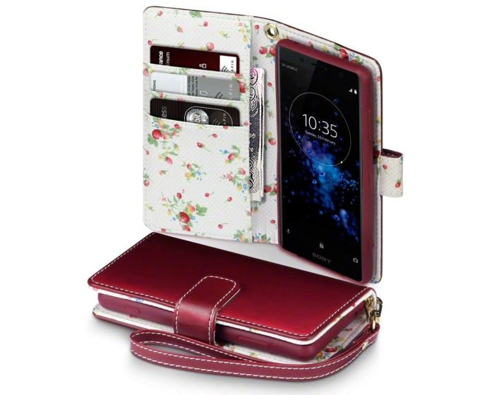 Terrapin Θήκη Πορτοφόλι Wallet Case (117-005-619) Red - Flowers (Sony Xperia XZ2 Compact)