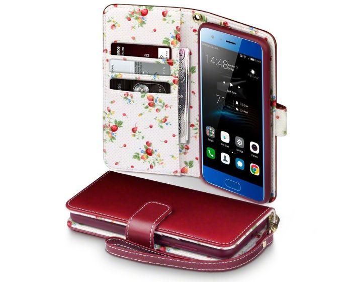 Terrapin Θήκη Πορτοφόλι Wallet Case (117-083-151) Red - Flowers (Huawei Honor 9)