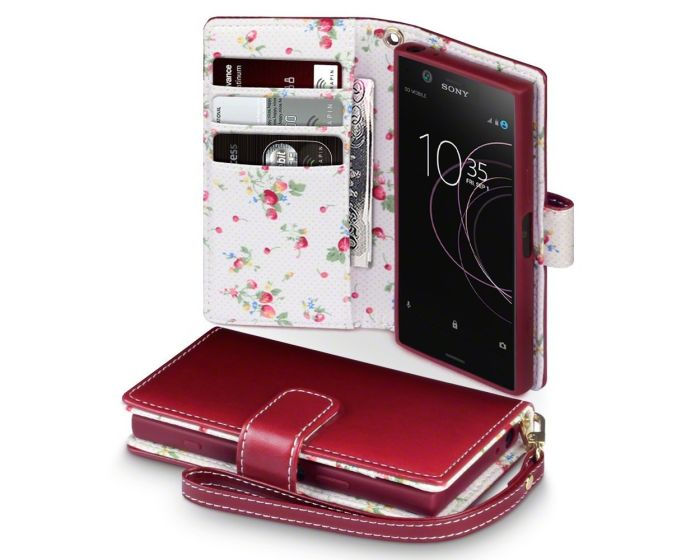 Terrapin Θήκη Πορτοφόλι Wallet Case (117-005-541) Red - Flowers (Sony Xperia XZ1 Compact)