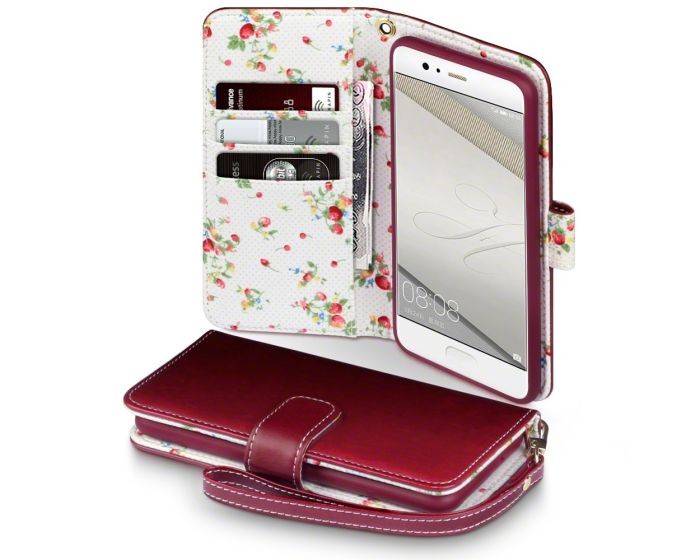 Terrapin Θήκη Πορτοφόλι Wallet Case (117-083-111) Red - Flowers (Huawei P10)