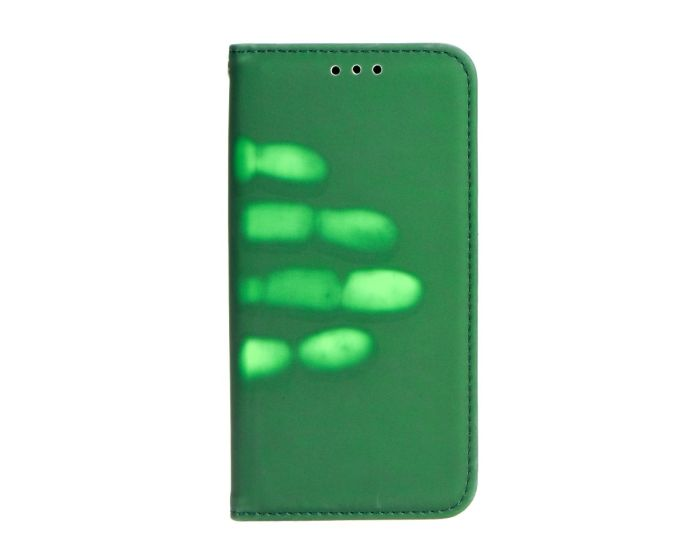 Forcell Thermo Wallet Case Θήκη Πορτοφόλι που αλλάζει Χρώμα με Δυνατότητα Stand - Green (Huawei Y7)